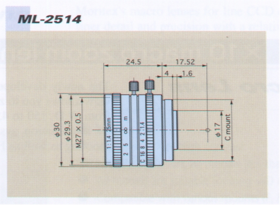 ML-2514 25 mm Machine Vision Lens